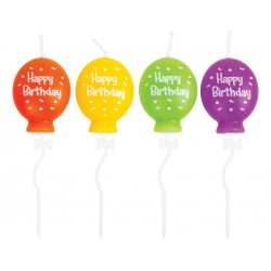 PTY CANDELINE BALLONS MIX 4PZ HAPPY BIRTHDAY 7,5CM *****