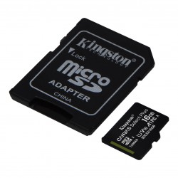 MEMORY CARD MICRO SD KINGSTON 16GB 100R A1 + ADAPTER
