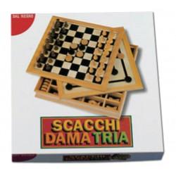 GIOCHI LEGNO DAL NEGRO SCACCHI - DAMA - TRIA BASIC 30X30CM
