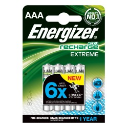 PILE RICARICABILE ENERGIZER EXTREME 4PZ HR3 AAA NH12 800MAH precaricate - singola
