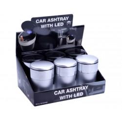 PORTACENERE DA AUTO CHAMP SILVER - NERO CON LED X6