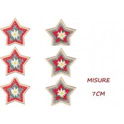 X-MAS MOLLETTE STELLA IN LEGNO 7CM X6