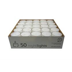 CANDELE TEALIGHT TRASPARENTE BIANCA 38X25MM 8H X50