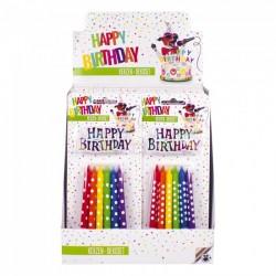 PTY CANDELINE COMPLEANNO 12 MULTICOLOR + HAPPY BIRTHDAY X12